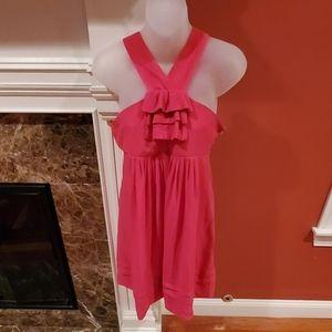 Fuchsia Pink Ruffle Mini Dress